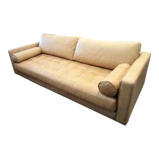 Full Grain Tufted Tan Leather Sofa W/ 2 Bolster Pillows