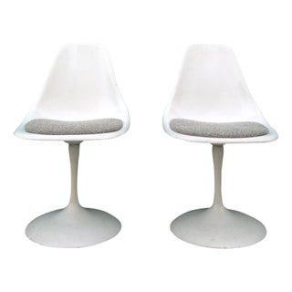 White Vintage Tulip Chairs - A Pair
