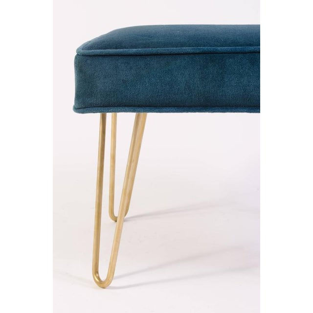 Petite Brass Hairpin Ottomans in Teal Velvet by Montage - Image 6 of 8