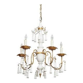 Vintage White Paint Wood and Tole Chandelier