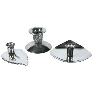 Silver-plate Candleholders - Set of 3