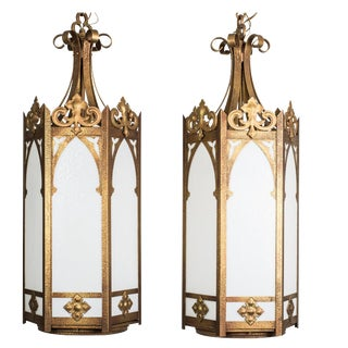 Monumental Art Deco Cathedral Lanterns - Pair