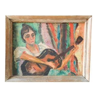 """1940's Betsy P Levy """"The Guitar Player"""" Painting"""