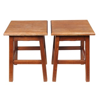 French Country Birch Stools - A Pair