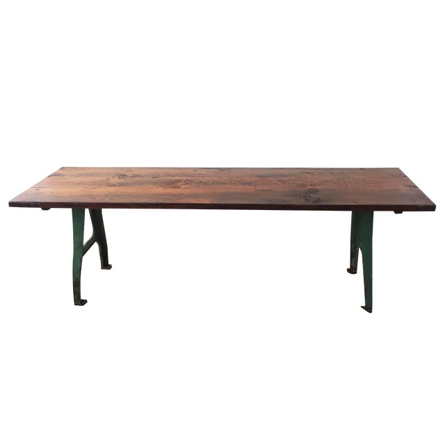 Cast iron base reclaimed wood dining table chairish for Cast iron dining table
