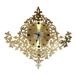 Large Filigree Brass Wall Clock