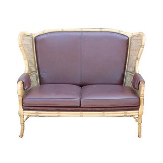 French Chippendale Faux Bamboo Brown Leather Wingback Settee