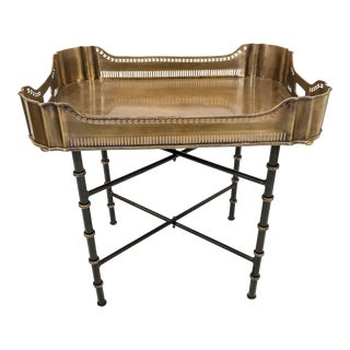 Brass Tray Table on Faux Bamboo Base