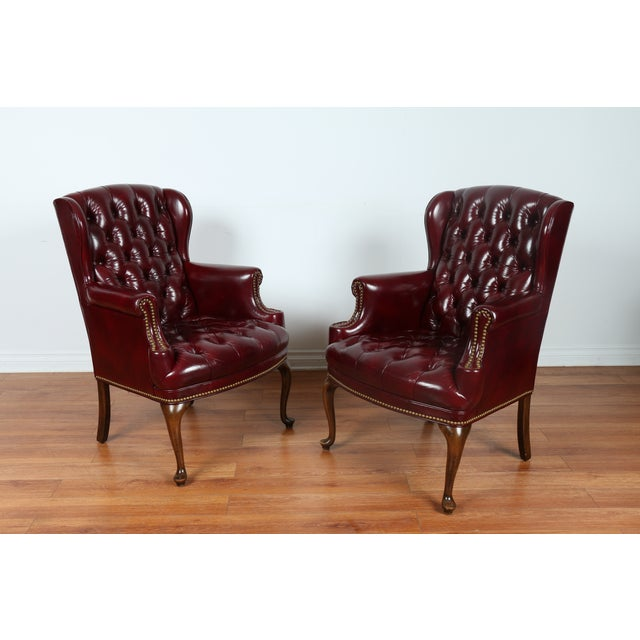 Schaffer Bros Burgundy Leather Chairs - A Pair - Image 8 of 11