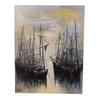 Abstract Boat Oil Painting on Canvas by Luc Verger