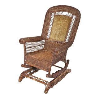 Late-Victorian Platform Wicker Rocking Chair