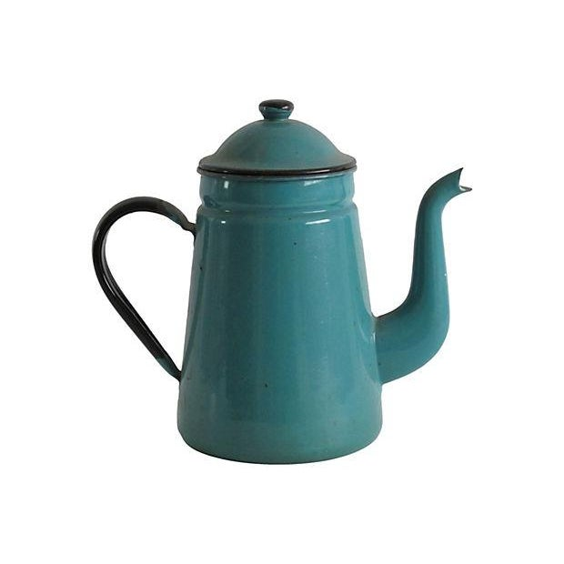 Turquoise Enamel Coffeepot - Image 1 of 3