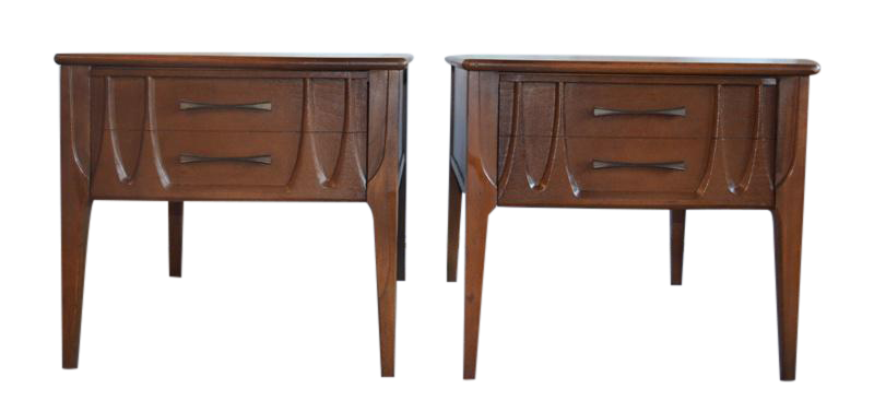 Mid Century Walnut Side Tables   A Pair