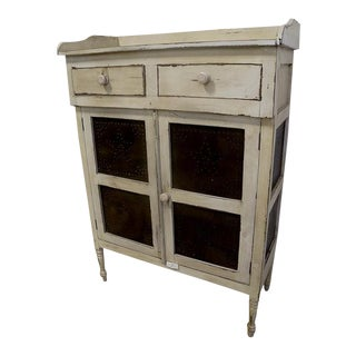 White Shabby Primitive Pie Safe Cupboard