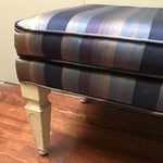 Image of Mid-Century Silk Striped Bench