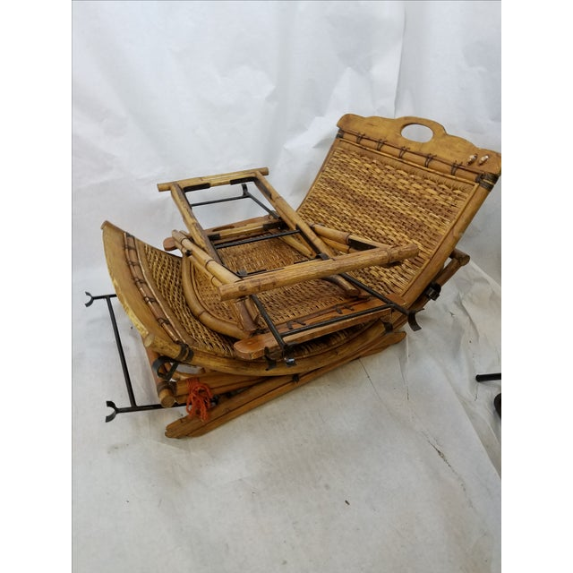 Vintage Rattan Sling Chair With Ottoman - Image 7 of 8