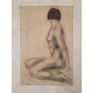 1937 Charcoal and Pencil Female Nude Estelle Siegelaub