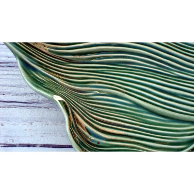 Antique Portuguese Green Leaf Majolica Ceramic - Image 8 of 10