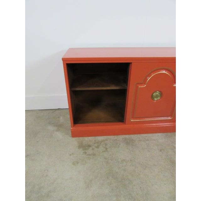 Dorthy Draper Style Persimmon Orange Media Cabinet - Image 3 of 8
