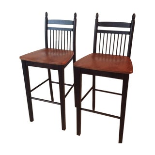 Brown Wooden Bar Stools - A Pair