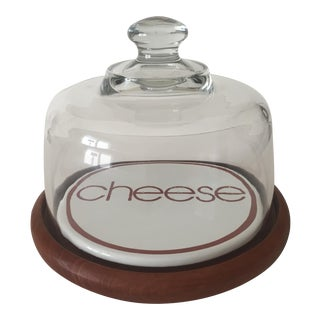 Danish Modern Teak Enamel Glass Dome Cheese Server