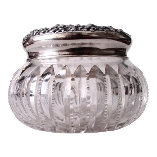 Antique Crystal & Sterling Vanity Jar