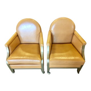 Handmade Leather Armchairs - A Pair