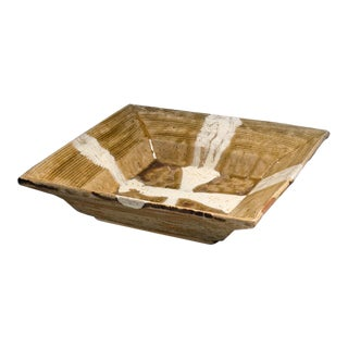 Yellow-glazed Square Platter with Cross Patterning