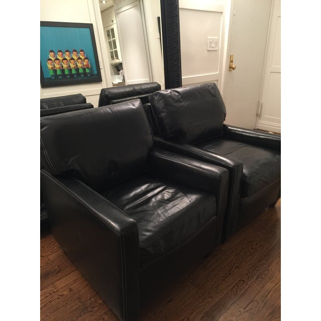 Custom Leather Contemporary Chairs - Pair - Image 6 of 9