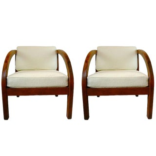 Pair of 1940s Art Deco to Modern Craftsman Oak Chairs by Modernage