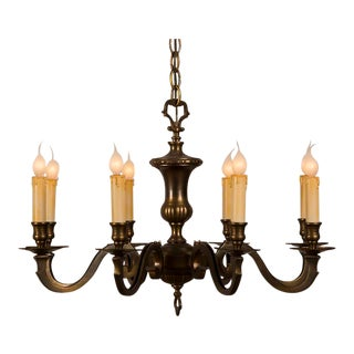 Louis XVI style eight arm cast brass chandelier from France c.1940.