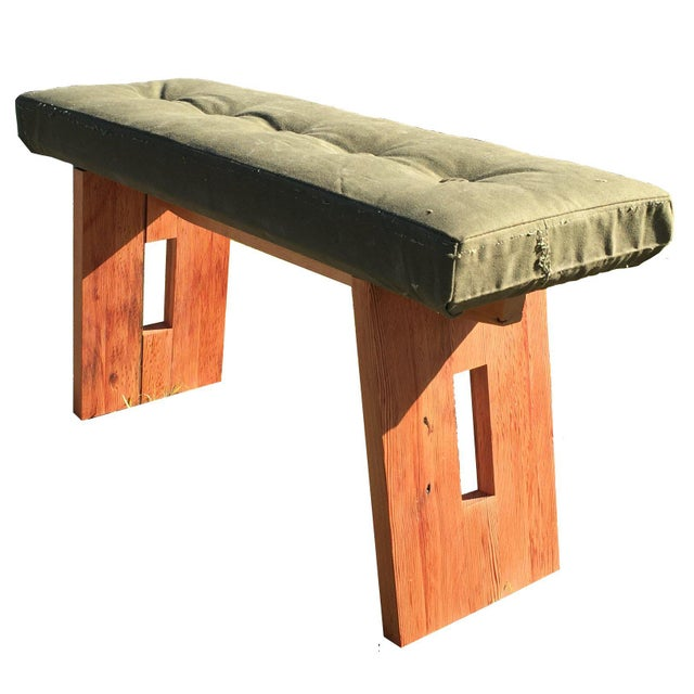Bench with Vintage Army Upholstery - Image 1 of 7