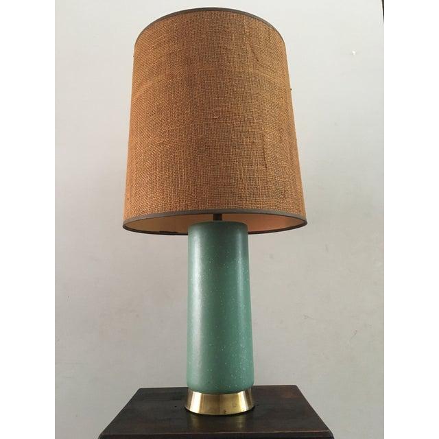 Mid-Century Turquoise Ceramic Table Lamp - Image 2 of 8