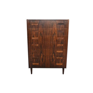 Danish Modern Rosewood Rectangular Pull Highboy Dresser