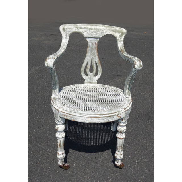 French White Cane Accent Arm Chair on Castors - Image 2 of 11