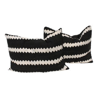African Mudcloth Black & White Pillows - A Pair