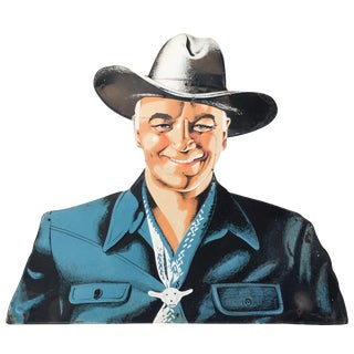 Hopalong Cassidy Die-Cut Tin Sign