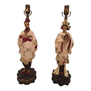Vintage Chinoiserie Chalkware Figural Lamps - A Pair