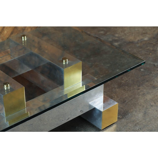 Paul Evans Style Vintage Chrome & Brass Coffee Table - Image 4 of 7
