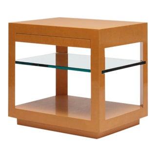 Vintage 1980s Karl Springer Orange Lacquered Side Table
