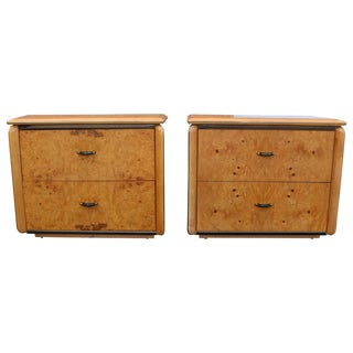 Vintage Lane Olivewood Burl Nightstands - A Pair