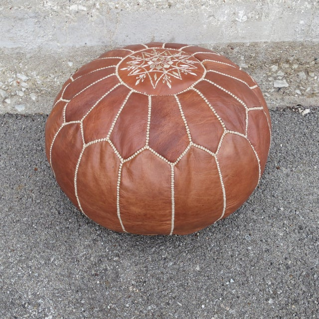 Moroccan Brown Leather Pouf - Image 2 of 4