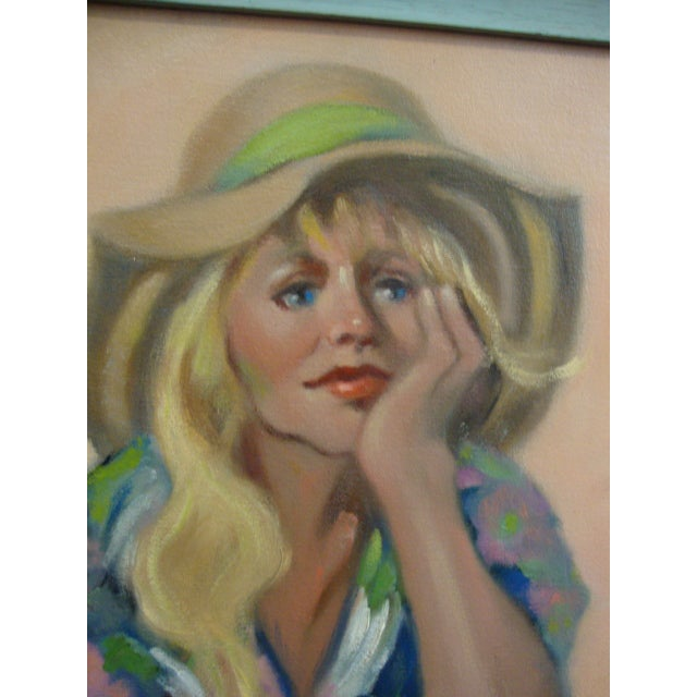 """Girl in a Straw Hat"" Oil Painting - Image 3 of 8"