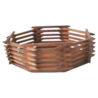 Rustic Wooden Box, Handmade Wood Basket Box, Primitive Basket Box