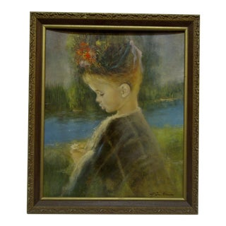"""Girl With a Flower"" Framed Original Print"