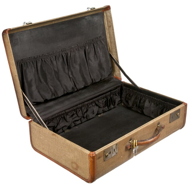Vintage Fabric & Leather Suitcase - Image 3 of 5