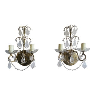 Pair of French Rock Crystal Sconces