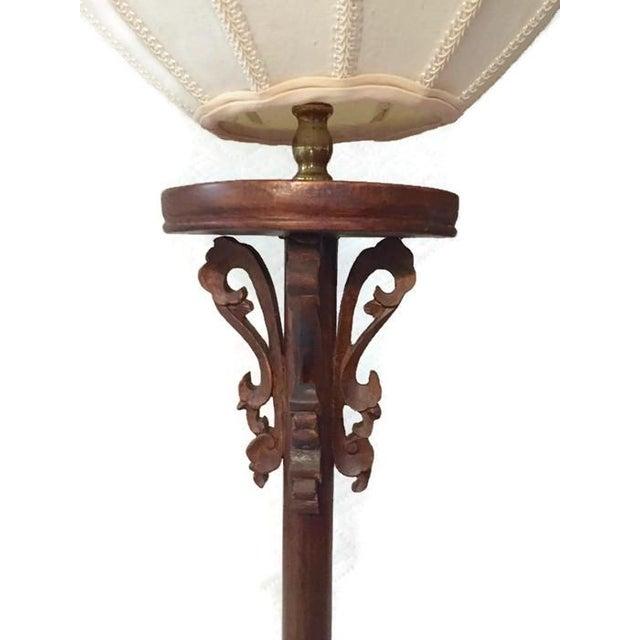 Vintage Carved Wood Lotus Lamp - Image 2 of 9