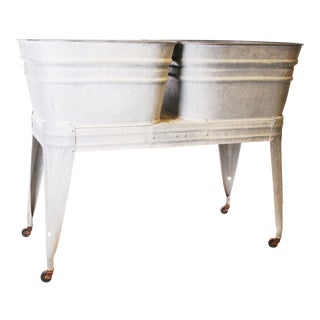 Vintage Country Galvanized Double Metal Wash Tub with Stand