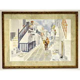 Greek Town Watercolor Painting by E. Ehmiths